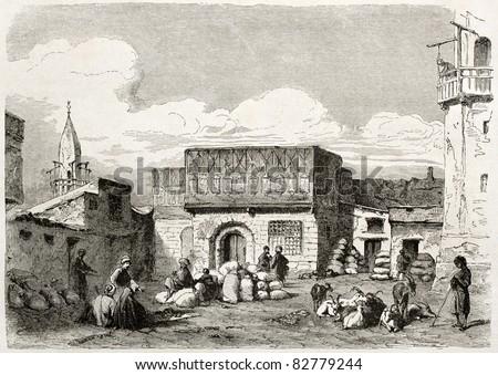 Suez, corn marketplace old illustration. Created by Lejean, published on Le Tour du Monde, Paris, 1860 - stock photo