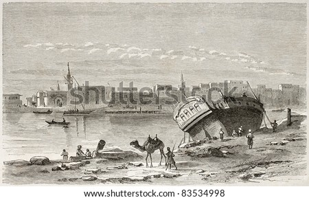 Suez port old view. Created by Girardet after Lejean, published on Le Tour du Monde, Paris, 1860 - stock photo