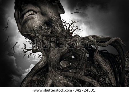 Suffering and pain concept as a tree and roots shaped as a human experiencing intense torture and mental agony as a psychology metaphor for misery or trapped by addiction. - stock photo