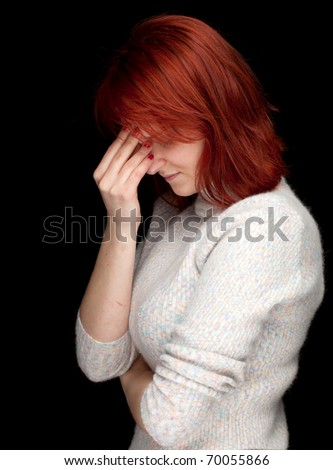 suffering from  pain, headache - young woman with hand near face