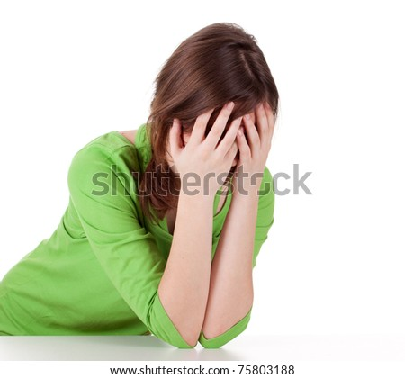 suffering from  pain - young woman with headache - stock photo
