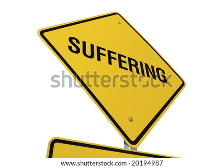 Suffering Yellow Road Sign against a White Background
