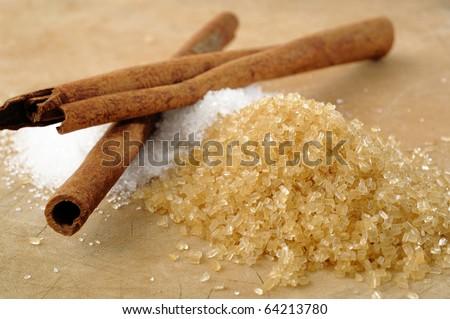 sugar and cinnamon - stock photo