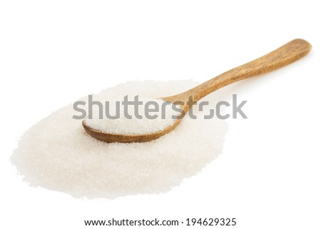 sugar and spoon isolated on white background - stock photo