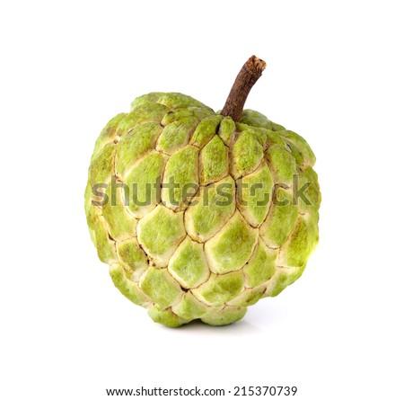 Sugar Apple (custard apple, Annona, sweetsop) on white background  - stock photo