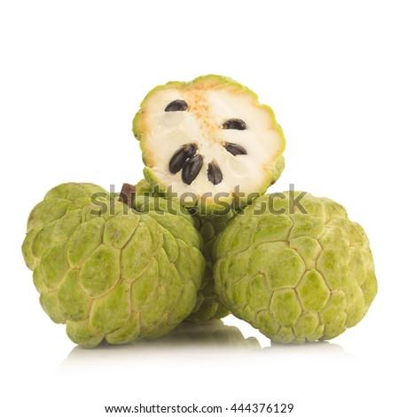 Sugar Apple (custard apple, Annona, sweetsop) on white background. - stock photo