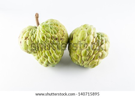 Sugar apple - Custard apple isolated in white background - Cherimoya fruit on white - Exotic fruit on white - stock photo