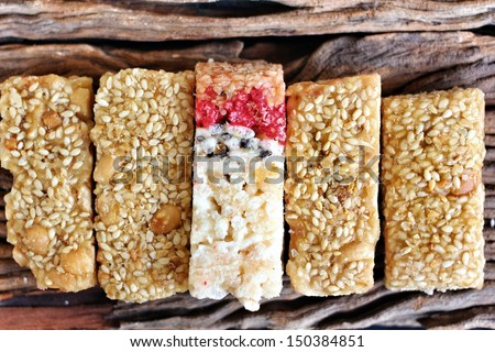 sugar bar with sesame and peanut from china food - stock photo