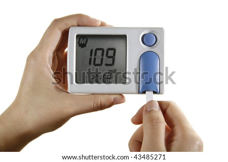 Sugar blood test reading on glucometer - stock photo