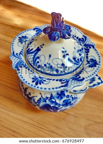 Things in Russian traditional Gzhel style. Closeup.  sc 1 st  Shutterstock : traditional russian tableware - pezcame.com