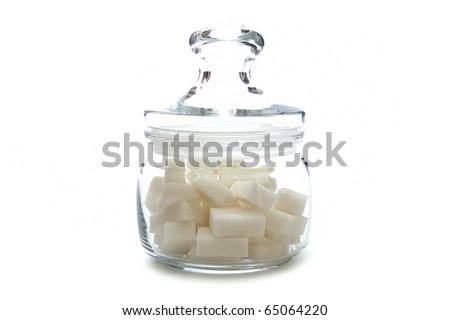 Sugar bowl on white background - stock photo