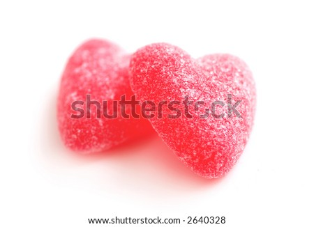Sugar candy Valentine's hearts isolated on white background - stock photo