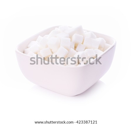 sugar cane cube in bowl  on white background - stock photo