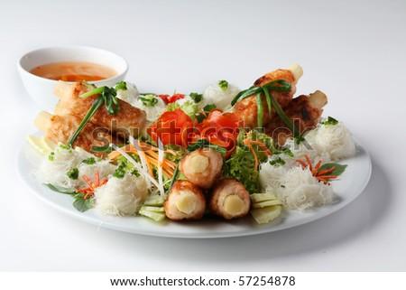 sugar cane with shrimp - stock photo