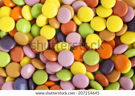 Sugar coated chocolate candy or sweets  - stock photo