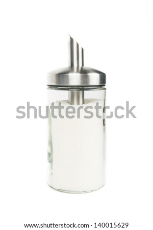 Sugar container on white