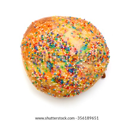 Sugar Cookie With Sprinkles Isolated On White
