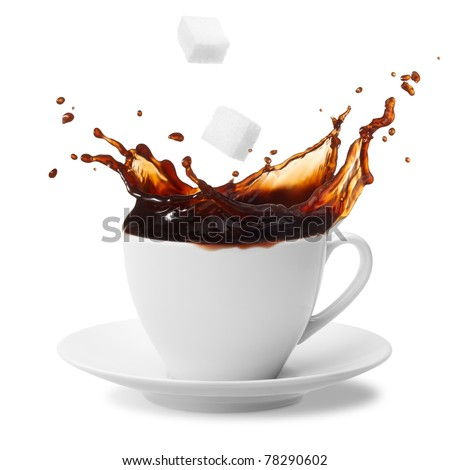 sugar cube being dropped into coffee creating splash - stock photo
