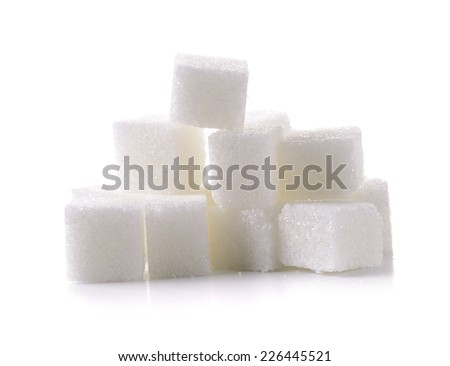 sugar cube on white background - stock photo