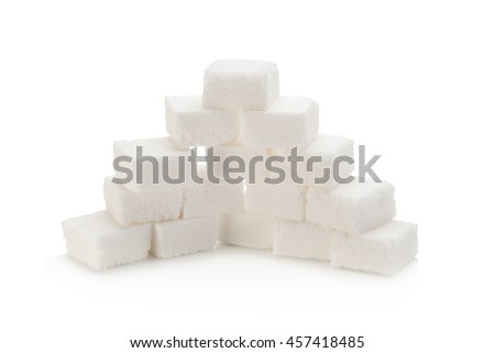 Sugar cubes on white background.