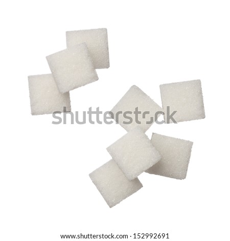 Sugar cubes on white background, close up - stock photo