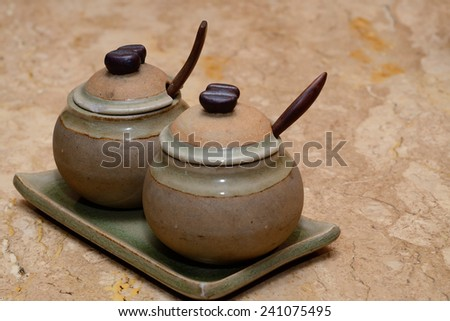Sugar cup on desk - stock photo