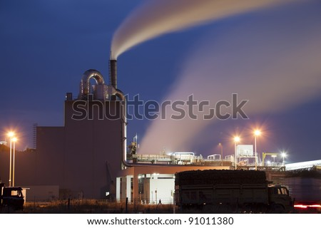 Sugar Factory in Turkey, night shoot. - stock photo