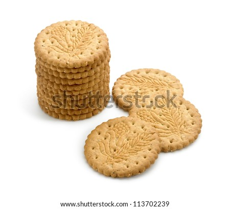 sugar free biscuits isolated in white background - stock photo
