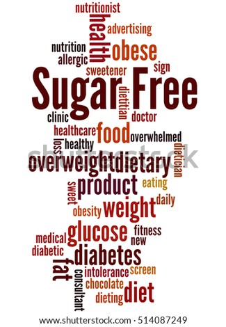 Sugar Free, word cloud concept on white background.