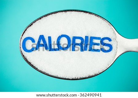 Sugar in a spoon and the word calories. - stock photo