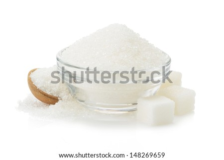sugar in bowl isolated on white background - stock photo