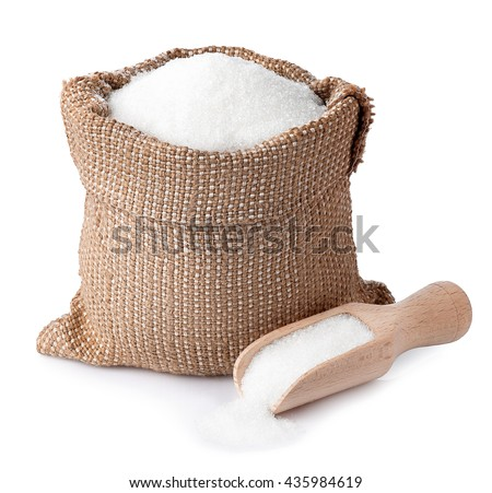 sugar in burlap sack with wooden scoop isolated on white background. Full bag of sugar crystals closeup. Sugar  - stock photo