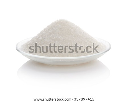 Sugar in glass bowl isolated on white background - stock photo