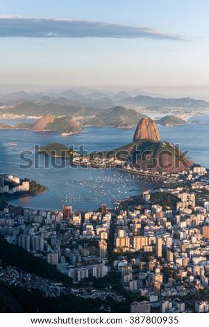 Sugar Loaf during sunset s Rio de Janeiro, Brazil - stock photo