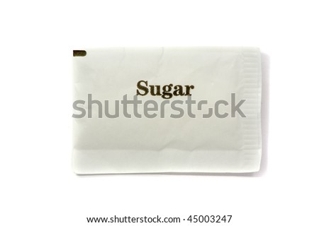 Sugar pack with text over white background - stock photo