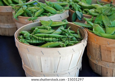 sugar peas in baskets