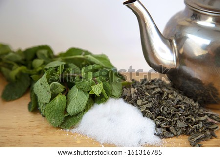 Sugar, peppermint and green tea - stock photo