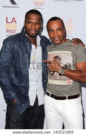 "Sugar Ray Leonard and Curtis ""50 Cent"" Jackson at the ""Tapia"" Screening at the Los Angeles Film Festival, Regal Cinemas, Los Angeles, CA 06-19-13"
