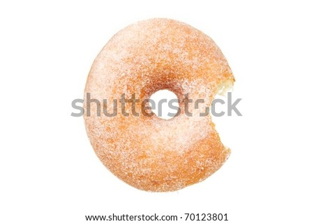 Sugar Ring Donut with Bite Taken Out Isolated on a White Background - stock photo