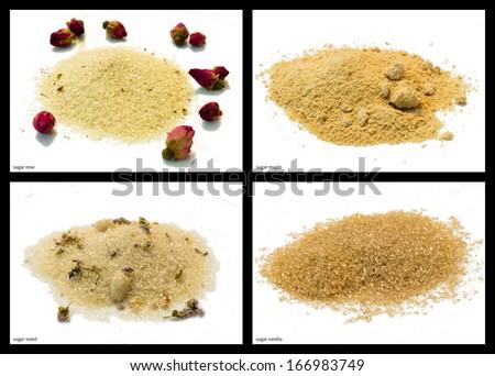 sugar rose, sugar maple, sugar violet, sugar vanilla - stock photo