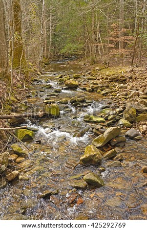 Sugar Run Creek in the Mountains of Cumberland Gap National Park in Kentucky - stock photo