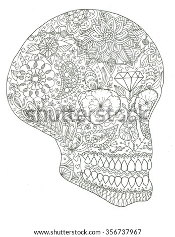 sugar skull day dead coloring page stock illustration 356737967