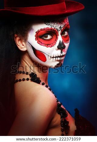 Sugar skull girl in hat halloween concept - stock photo