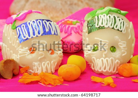 Sugar skulls from a day of the day Mexican holiday Dia de los Muertos. - stock photo