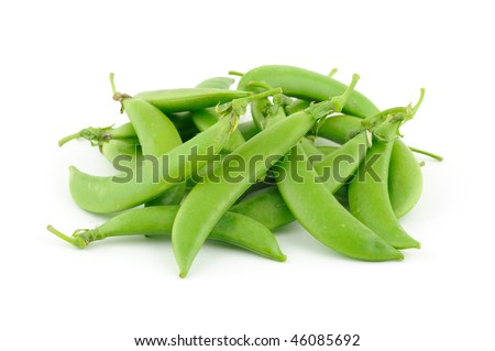 Sugar snap peas in isolated white background - stock photo