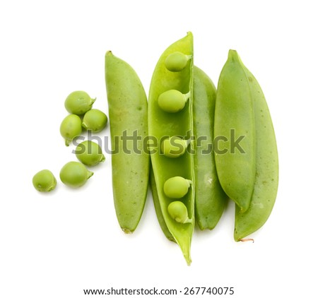 sugar snap peas on white background