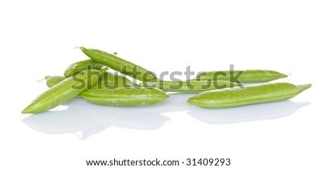 Sugar snap peas on white background - stock photo