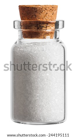 sugar spice in a little bottle isolated on white background - stock photo