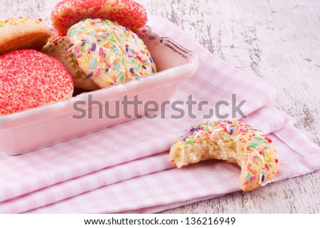 sugar sprinkles cookies - stock photo