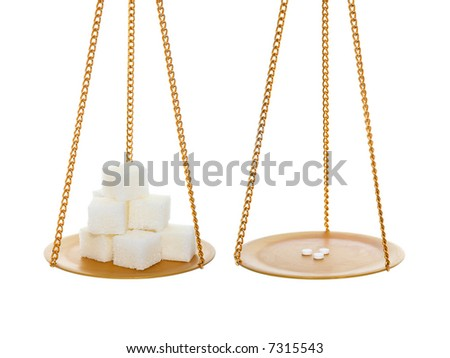 Sugar vs small healthy sugar sweeteners. On balance. Isolated over white - stock photo